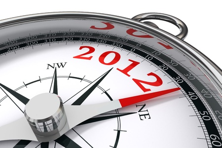 new year 2012 indicated by conceptual compass on white background photo
