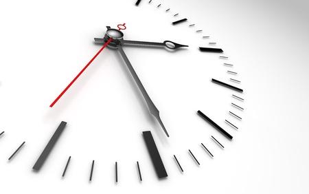 garrapata: concepto de tiempo de reloj primer plano sobre fondo whte mostrando tres y media horas Foto de archivo