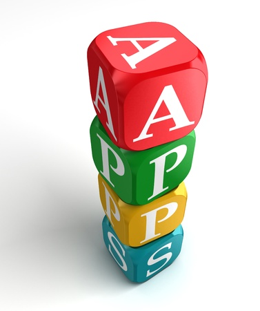 red dice: apps sign 3d colorful box tower on white background Stock Photo