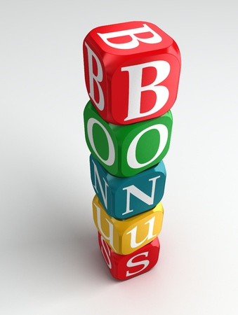 dices: bonus 3d colorful buzzword on white background Stock Photo