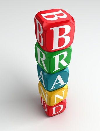buzzword: brand 3d colorful buzzword tower on white background