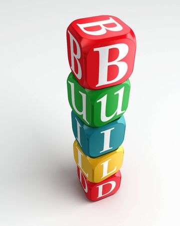 build 3d colorful buzzword dice tower on white background Stock Photo - 11515244