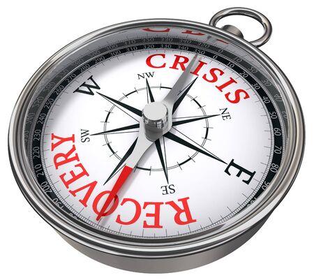 crisis economica: crisis en comparaci�n con el concepto de recuperaci�n br�jula aisladas sobre fondo blanco