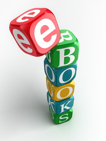 e-books sign 3d colorful block tower on white background photo