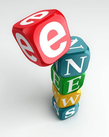 e news sign 3d colorful box tower on white background Stock Photo - 11515301