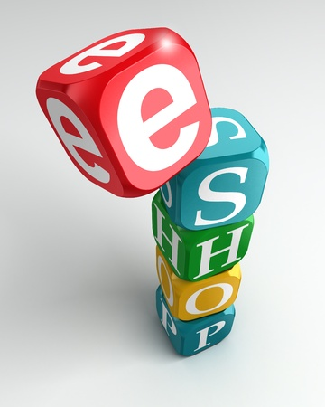 red dice: eshop sign 3d colorful buzzword tower on white background