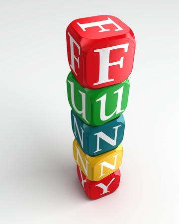 red dice: funny sign 3d colorful box tower on white background Stock Photo