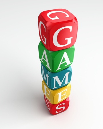 word game: games 3d colorful buzzword dice tower on white background