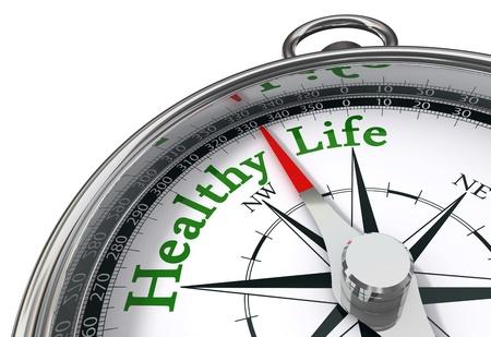 BUEN VIVIR: vida saludable indicado por el comp�s de concepto sobre fondo blanco Foto de archivo