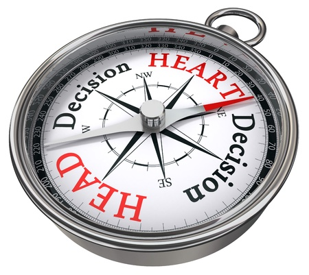 business dilemma: heart versus head decision concept compass isolated on white background