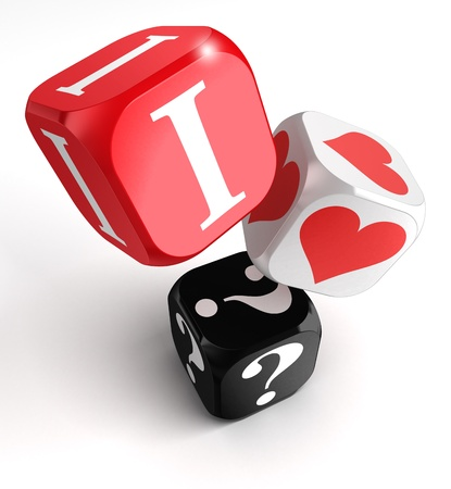 i dont know what i love 3d dice on white background photo