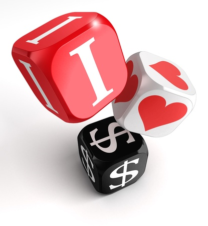 love of money: i love dollars 3d colorful box tower on white background