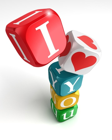 i love you 3d colorful box tower on white background photo