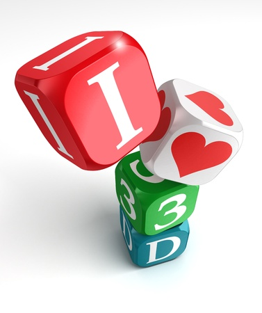 i love 3d red coloured dice on white background photo