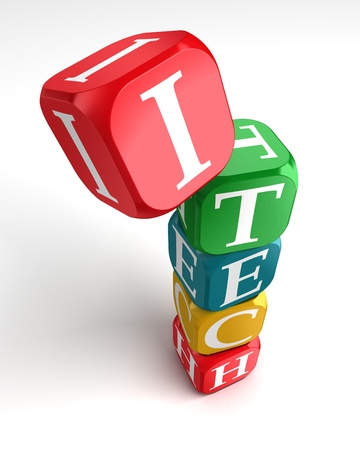 buzzword: internet technology 3d colorful buzzword dice tower on white background Stock Photo