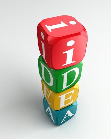 buzzword: idea 3d colorful buzzword on white background Stock Photo