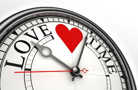 beat the clock: love time red black words on concept clock closeup on white background  Stock Photo