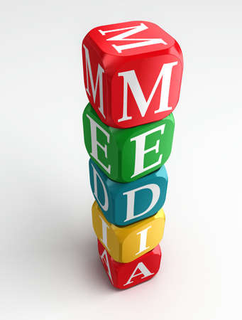 media sign 3d colorful box tower on white background photo