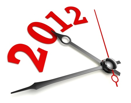 new year 2012 concept clock closeup on whte background photo