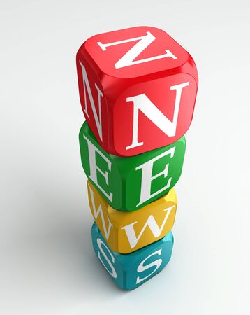 news 3d colorful buzzword tower on white background photo
