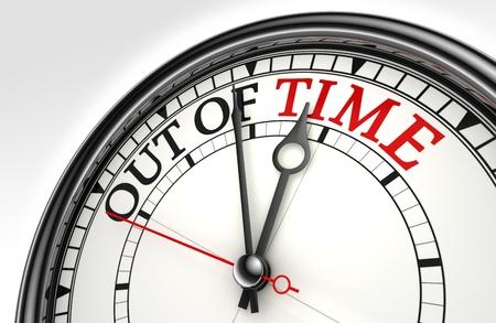 el tiempo de color rojo las palabras negro en primer plano el concepto de reloj en la metáfora de fondo blanco