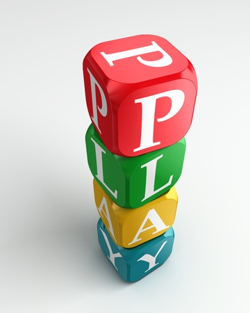 buzzword: play 3d colorful buzzword tower on white background