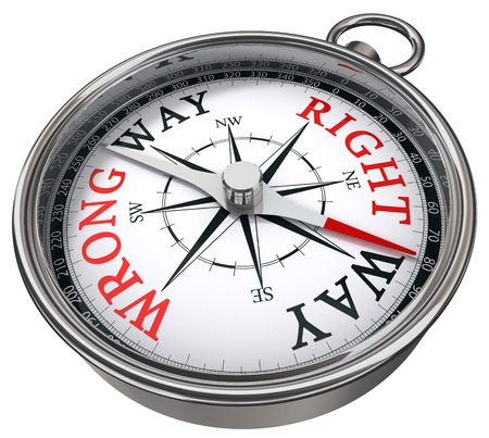 ways: right versus wrong way indicated by concept compass on white background metaphor for logic versus feeling