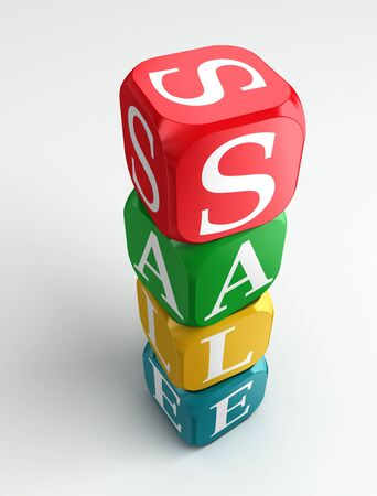 retailers: sale 3d colorful buzzword tower on white background