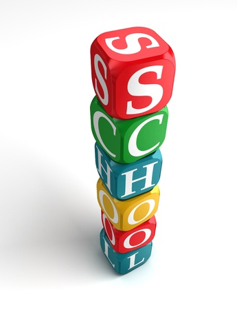 buzzword: school 3d colorful box tower on white background Stock Photo