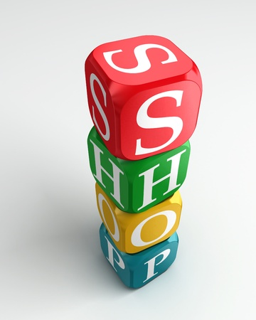 buzzword: shop 3d colorful buzzword dice tower on white background Stock Photo