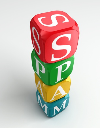 spam 3d colorful buzzword dice tower on white background photo
