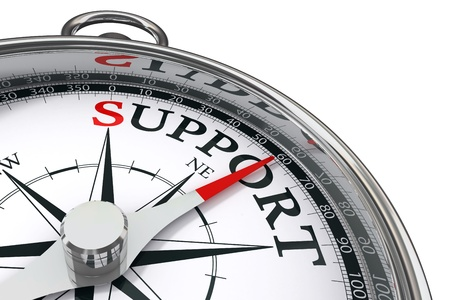 helpdesk: support indicated by concept compass on white background