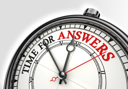 find answers: answers time concept clock closeup on white background with red and black words