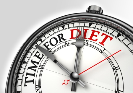 diet concept: diet time concept clock closeup on white background with red and black words