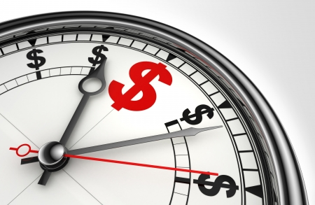 gold money: red dollar symbol on concept clock closeup on white background metaphor time is money Stock Photo
