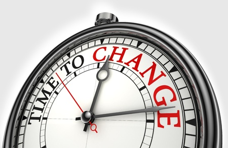 change concept: time to change concept clock closeup on white background with red and black words