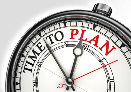business plan: time to plan concept clock closeup on white background with red and black words