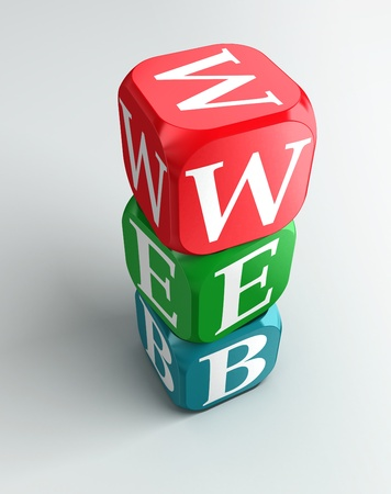 red dice: web sign 3d colorful buzzword tower on white background