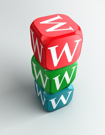 www 3d colorful buzzword dice tower on white background Stock Photo - 11515290