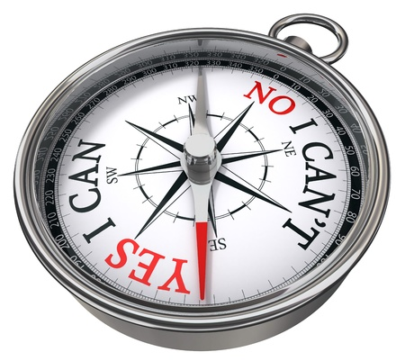 yes versus no ability concept compass isolated on white background Stock Photo - 11515317