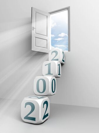 2012 cube ladder and door conceptual image for the new year photo