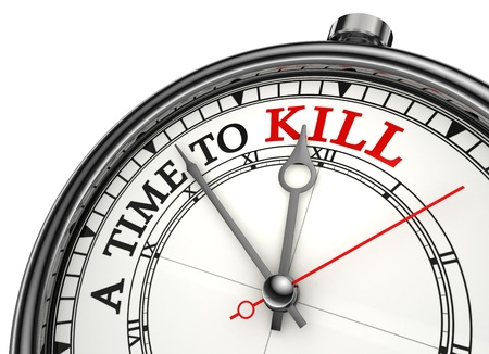 spare time: a time to kill red black words on concept clock closeup on white background metaphor Stock Photo