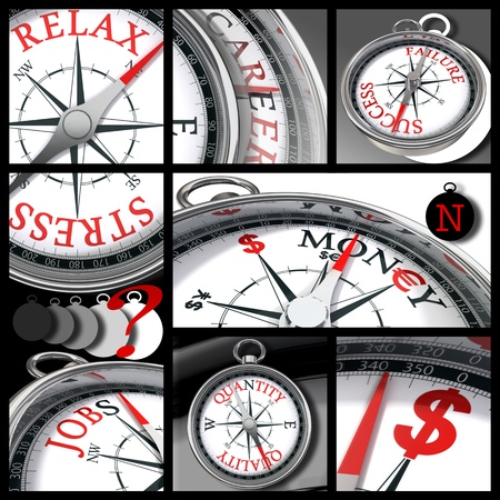 business and finance concept compass collage in white, red and black colours Stock Photo