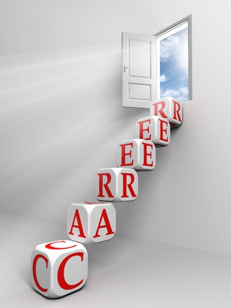 career conceptual door and box ladder in white room metaphor for success