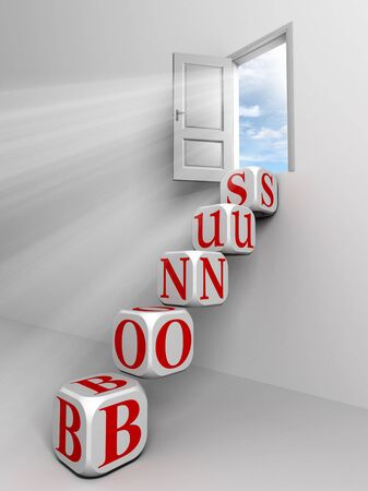 bonus conceptual door with sky and box red word ladder in white room metaphor Stock Photo - 11810563