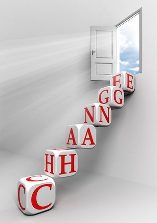 business change: change conceptual door with sky and box word  ladder in white room metaphor