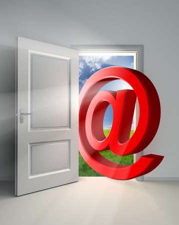email symbol conceptual door with sky and green field background inside white room Stock Photo - 11810593