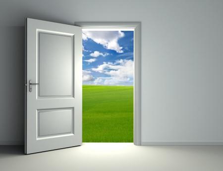 puerta abierta: puerta blanca abierta dentro de la habitaci�n vac�a con vista al campo verde y el fondo del cielo de nubes Foto de archivo