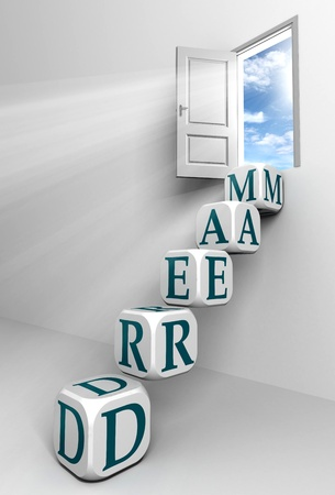 dream conceptual door with sky and box blue word  ladder in white room metaphor  photo