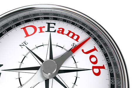 dream job: dream job the way indicated by compass conceptual image Stock Photo